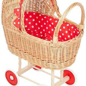 rieten poppenwagen rode stip met vaste zonnekap