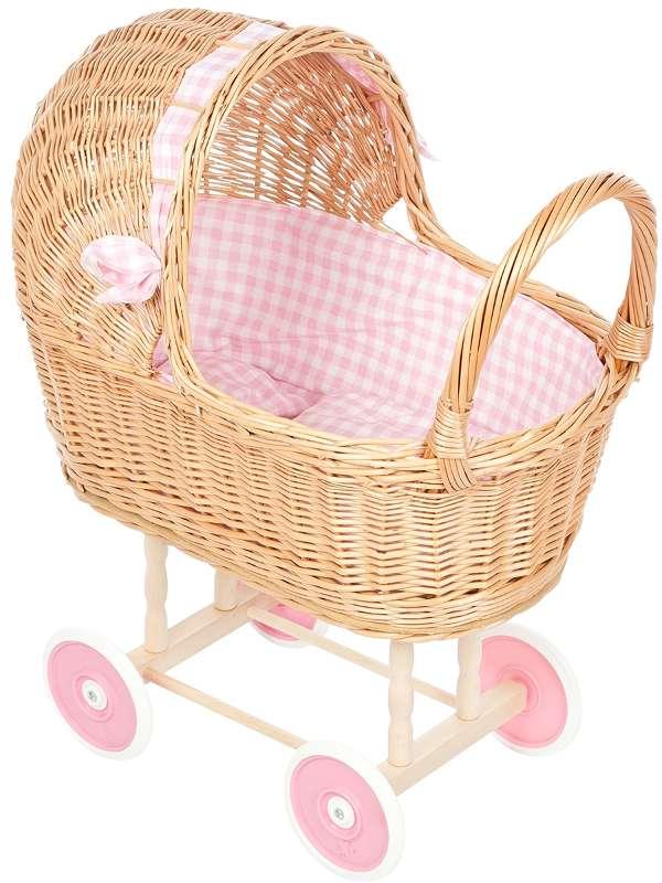 Rieten poppenwagen met zonnekap roze ruit